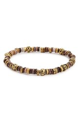 Men's Link Up Lava Rock And Brass Bead Bracelet