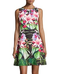 Philosophy Lily Print Fit And Flare Tank Dress Green Pink