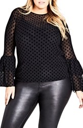 City Chic Plus Size Flocked Spot And Hot Top Black Spot