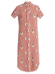 Stella Jean Spassosa Bird Print Striped Silk Dress Red White