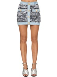 Balmain Stretch Tweed And Denim Mini Skirt Blue