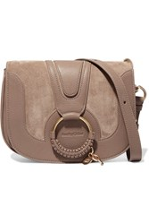 See By Chloe Hana Small Textured Leather And Suede Shoulder Bag Gray