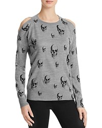 Aqua Cold Shoulder Skull Sweater Hgreyblk