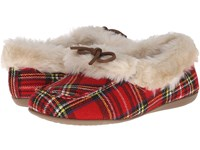 Vionic With Orthaheel Technology Cozy Juniper Moccasin Red Plaid Women's Slip On Shoes