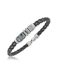 Tedora Silver Band Braided Leather Bracelet