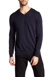 Wallin And Bros V Neck Long Sleeve Sweater Blue