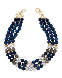 Akola Triple Strand Chunky Bead Necklace Blue
