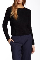 Amanda Uprichard Crew Neck Cropped Sweater Black