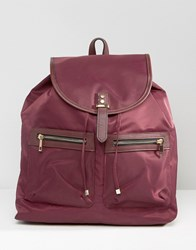Asos Nylon Backpack With Pockets Berry Red