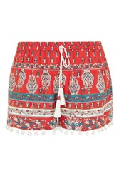 Topshop Pom Pom Trim Shorts By Band Of Gypsies Red