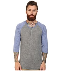 Alternative Apparel 3 4 Raglan Henley Eco Grey Eco Pacific Blue Men's Long Sleeve Pullover Gray