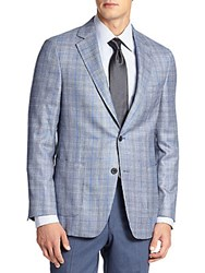Saks Fifth Avenue Samuelsohn Wool Silk And Cashmere Check Sportcoat Navy