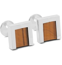 Lanvin Rhodium Plated Tiger's Eye And Onyx Cufflinks Brown