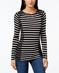 Inc International Concepts Striped Lace Long Sleeve Top Only At Macy's