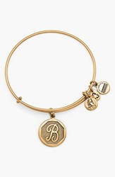 Women's Alex And Ani 'Initial' Adjustable Wire Bangle B Russian Gold
