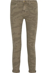 Current Elliott The Stiletto Camouflage Print Mid Rise Skinny Jeans Green