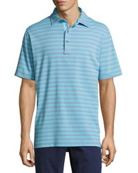 Bobby Jones Fine Line Stripe Print Polo Shirt Blue