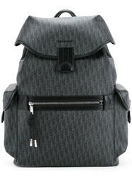 Christian Dior Homme Printed Backpack Men Calf Leather Canvas One Size Grey