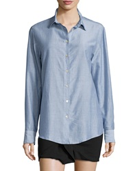 Isabel Marant Pinstriped Cotton Blend Button Down Blouse Blue