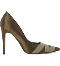Dune Archivve Satin Court Shoes Khaki