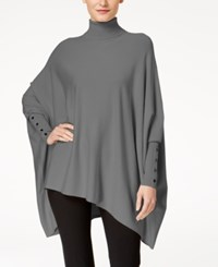 Alfani Turtleneck Poncho Sweater Created For Macy's Stadium Grey