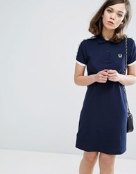 Fred Perry Archive Taped Polo Shirt Dress Carbon Blue