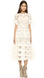 Alexis Benati Crochet Midi Dress White Crochet