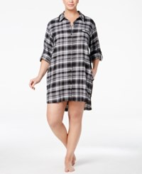 Dkny Plus Size Patterned Flannel Boyfriend Sleepshirt Black Plaid