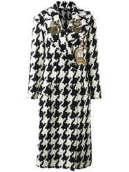 Dolce And Gabbana Wonderland Patch Houndstooth Coat Black