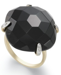 Macy's 14K Gold Ring Onyx And Diamond Accent Dome Ring 29 Ct. T.W.