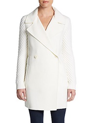 Vince Sweater Sleeve Wool Coat Winter White