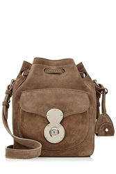 Ralph Lauren Collection Ricky Small Suede Shoulder Bag Brown