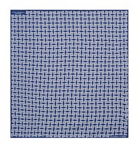 Turnbull And Asser Geometric Flower Print Silk Pocket Square Unisex Blue