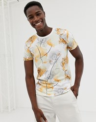 Selected Homme T Shirt With All Over Floral Print White