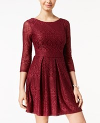 B. Darlin B Juniors' Lace Fit And Flare Dress Wine