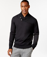 Sean John Alpha Two Button Shawl Collar Sweatshirt Pm Black