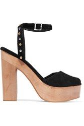 Maje Flash Studded Suede Platform Sandals Black
