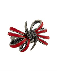 Stephen Webster Four Loop Red Bow And Black Sapphire Ring Size 7