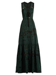 Elie Saab Tie Front Fil Coupe Gown Black Green