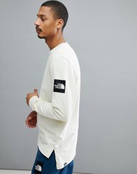 The North Face Fine 2 Long Sleeve Top In Off White Vintage White