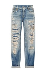 R 13 R13 Shredded Mid Rise Relaxed Fit Jeans Medium Wash