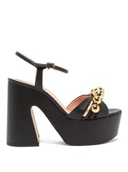 Rochas Beaded Leather Platform Sandals Black Gold