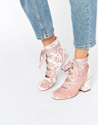 Asos Randa Lace Up Ankle Boots Pink Velvet
