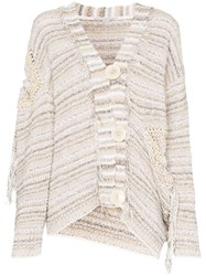 Stella Mccartney Tie Detail Cotton Blend Knit Cardigan Neutrals