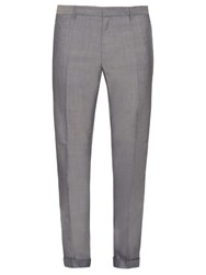 Jil Sander Adriano Wool And Cotton Blend Trousers Light Grey