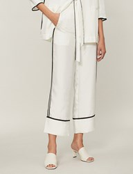 Moandco. Side Stripe Crepe Straight Leg Trousers Snow White