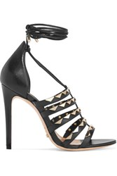 Schutz Studded Leather Sandals Black