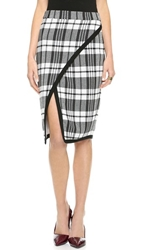 Sea Plaid Wrap Skirt White