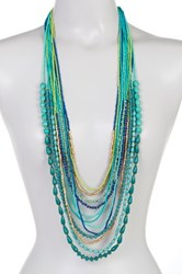 Joe Fresh Long Multi Row Beaded Necklace Blue