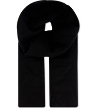 Aspinal Of London Suede Patch Cashmere Scarf Black